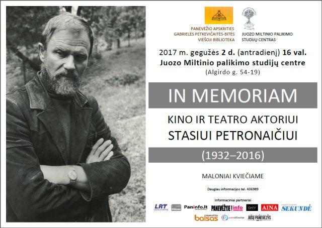 IN MEMORIAM Stasiui Petronaičiui